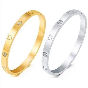 Gold/White Gold Plated Bangle Bracelet Heart Stone
